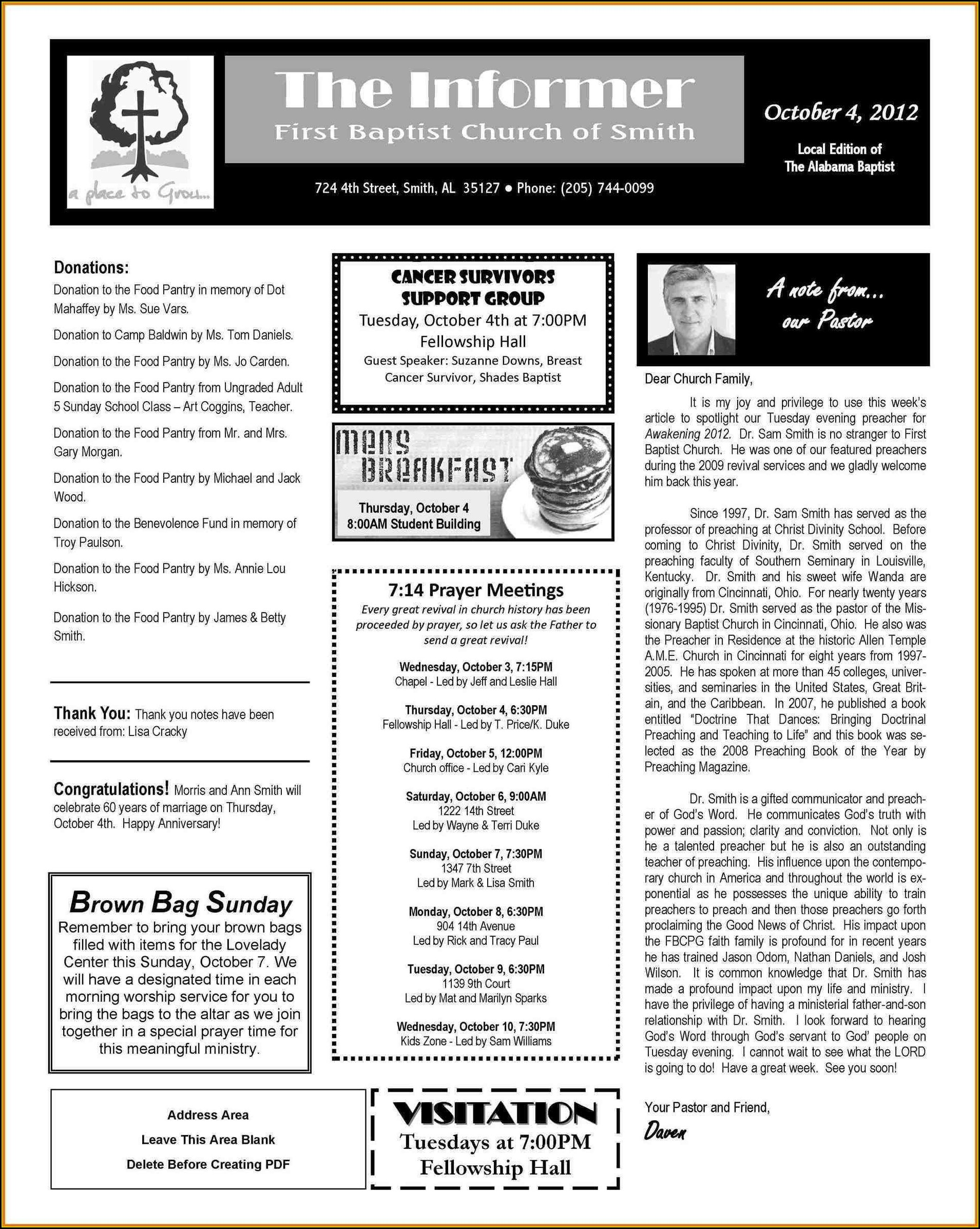 Microsoft Word Free Church Newsletter Templates