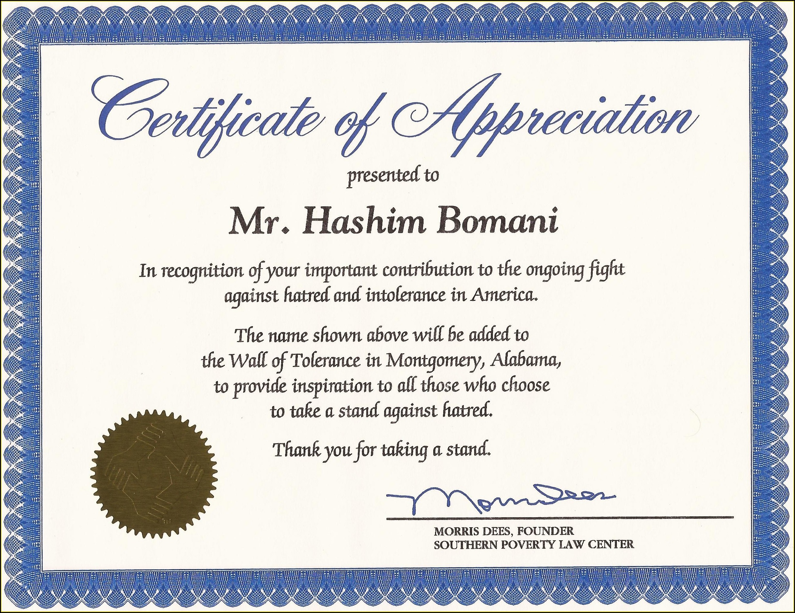Microsoft Word Word Document Certificate Of Appreciation Template Word Doc