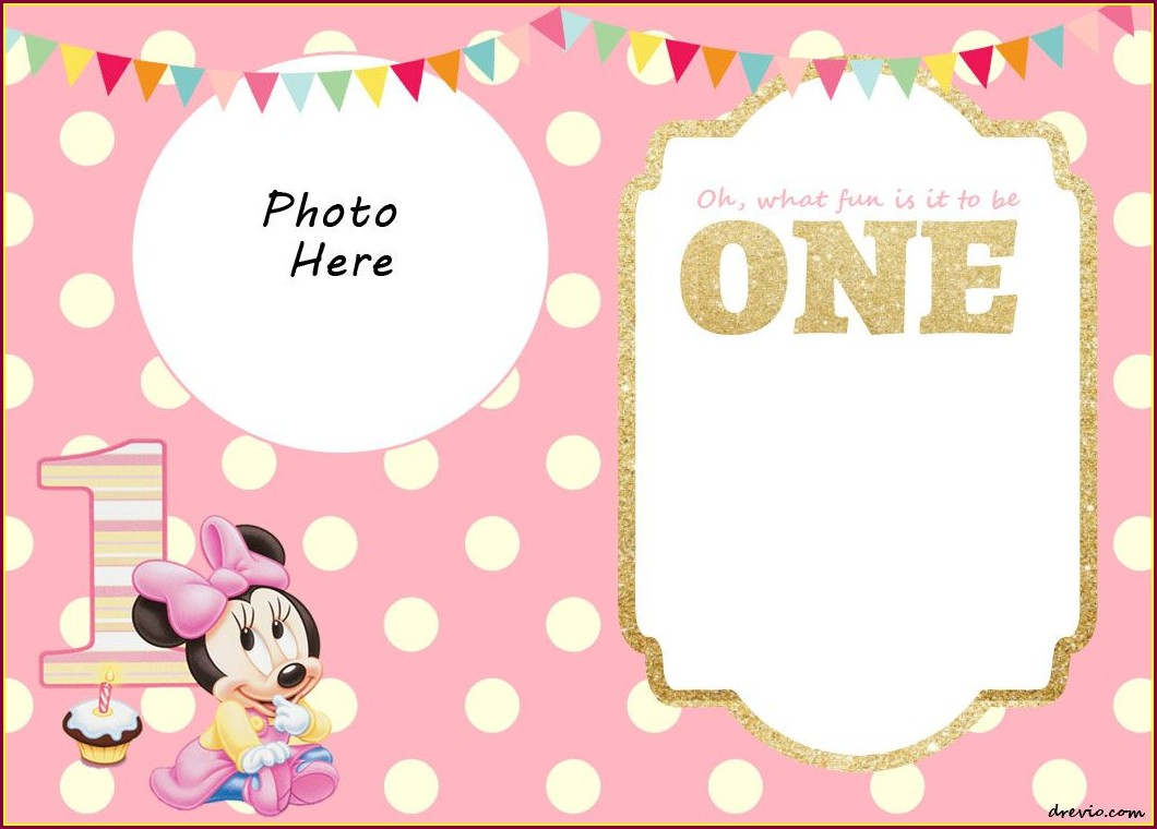 Minnie Mouse 1st Birthday Invitations Free Templates