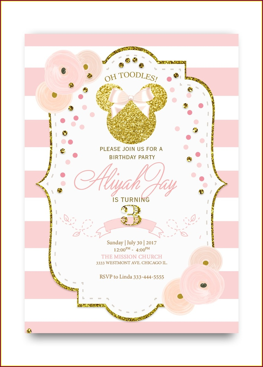 Minnie Mouse 1st Birthday Invitations Pink And Gold