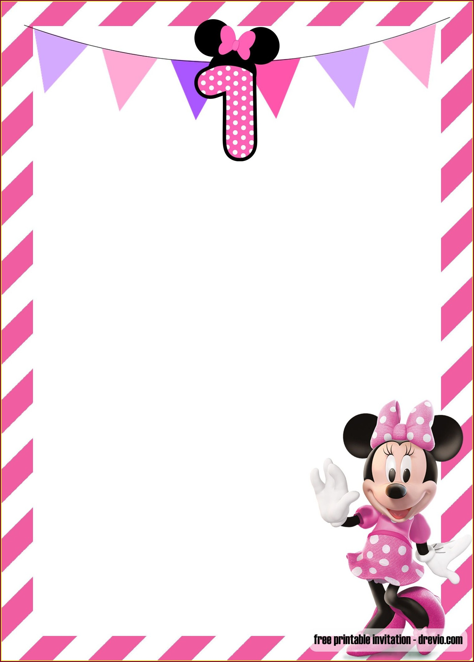 Minnie Mouse 1st Birthday Invitations With Photo