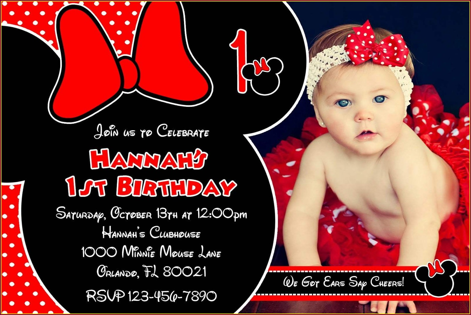 Minnie Mouse Invitation Template Red And Black