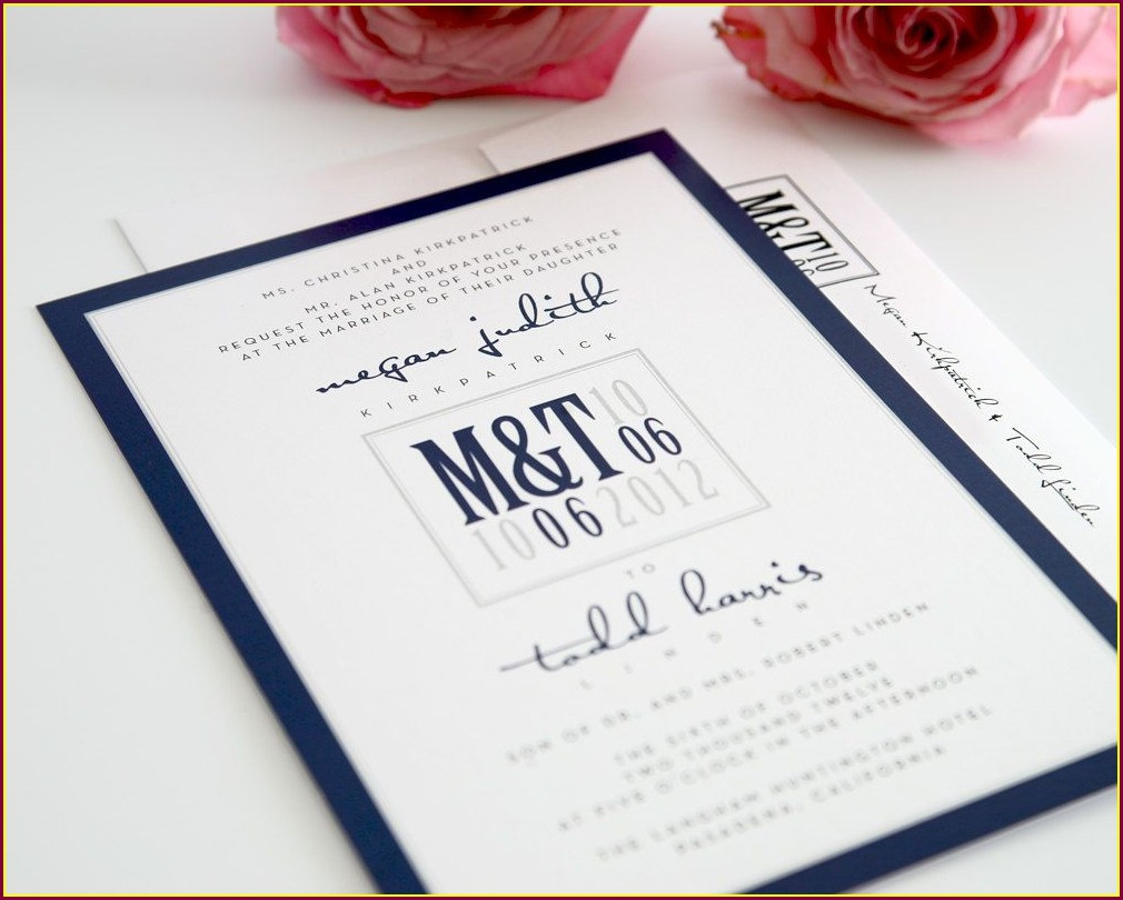 Modern Navy Blue Wedding Invitations