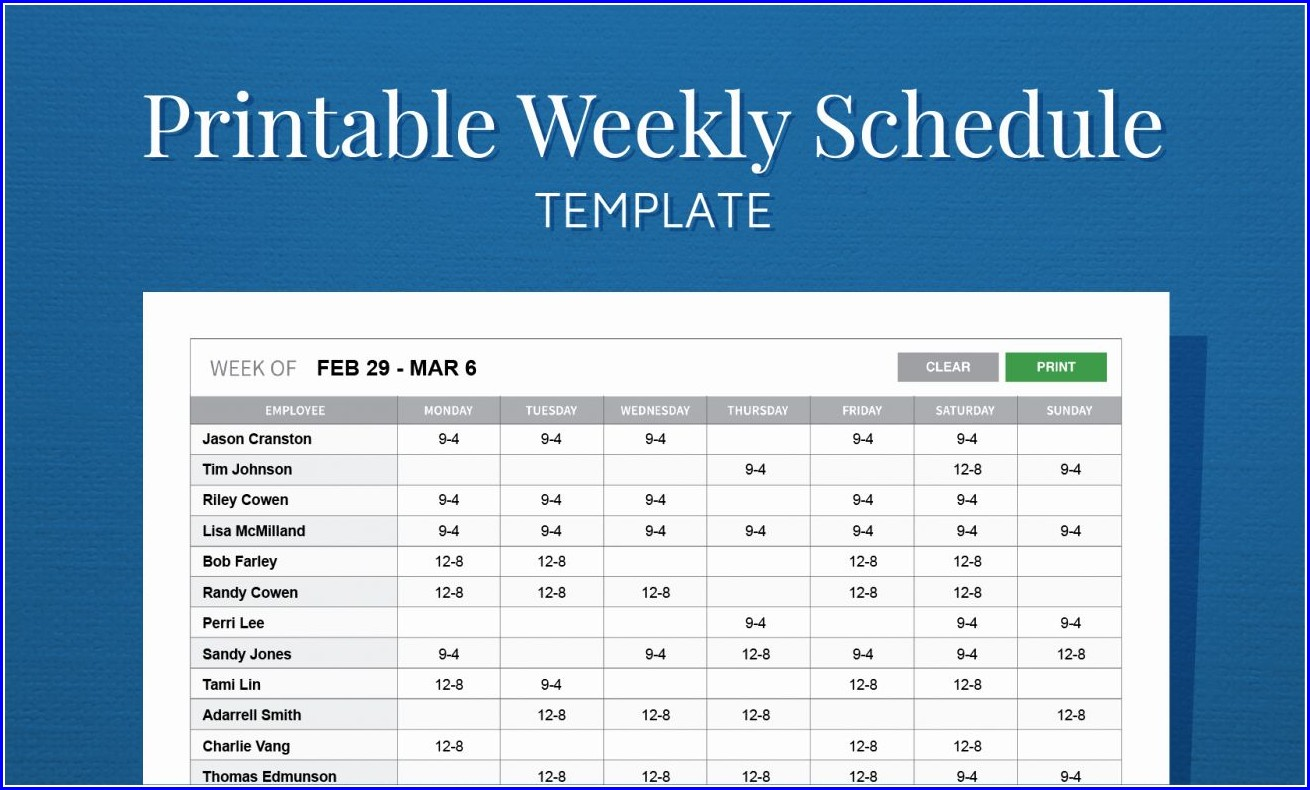 Monthly Printable Free Weekly Employee Work Schedule Template