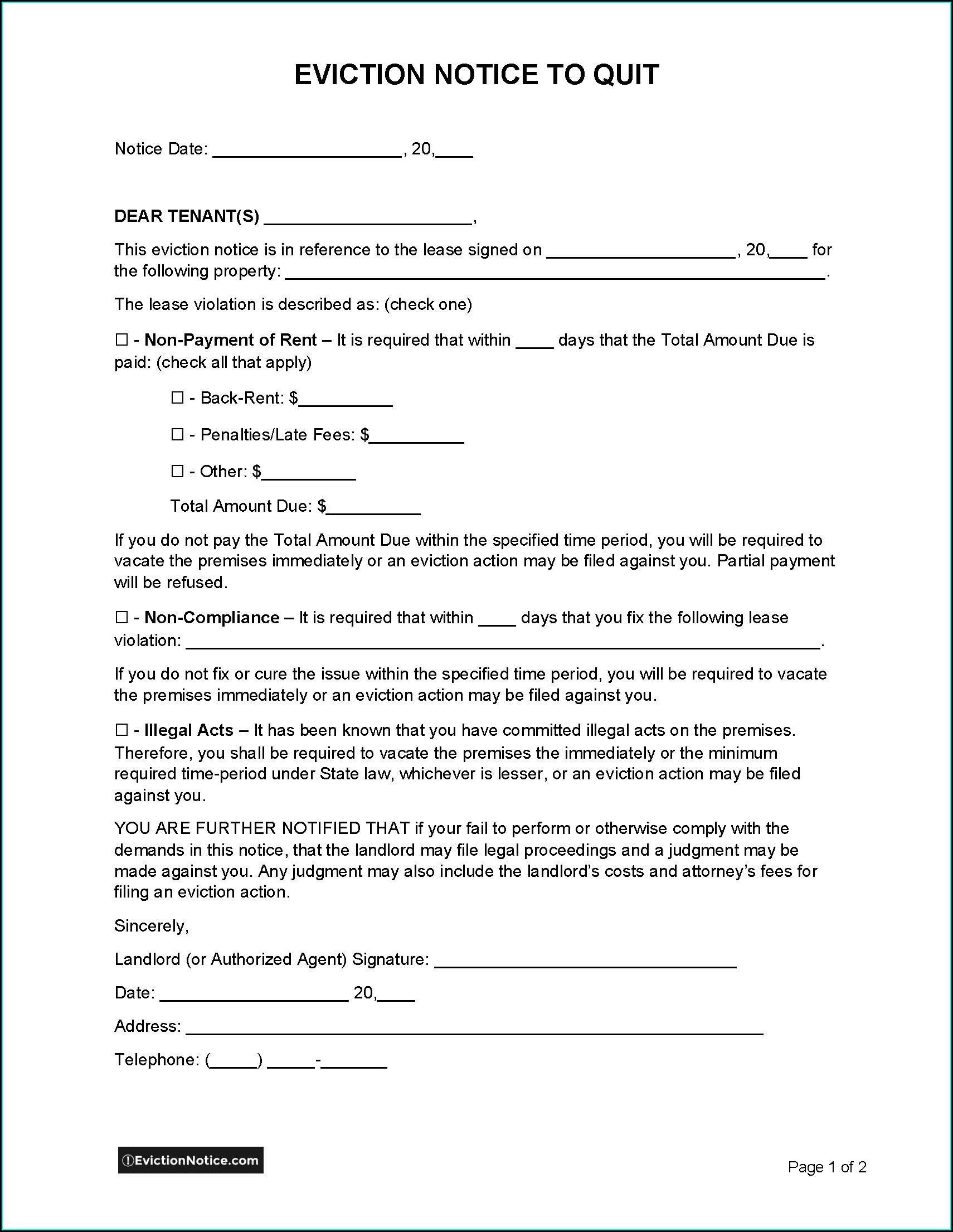 Ms Word Eviction Notice Template