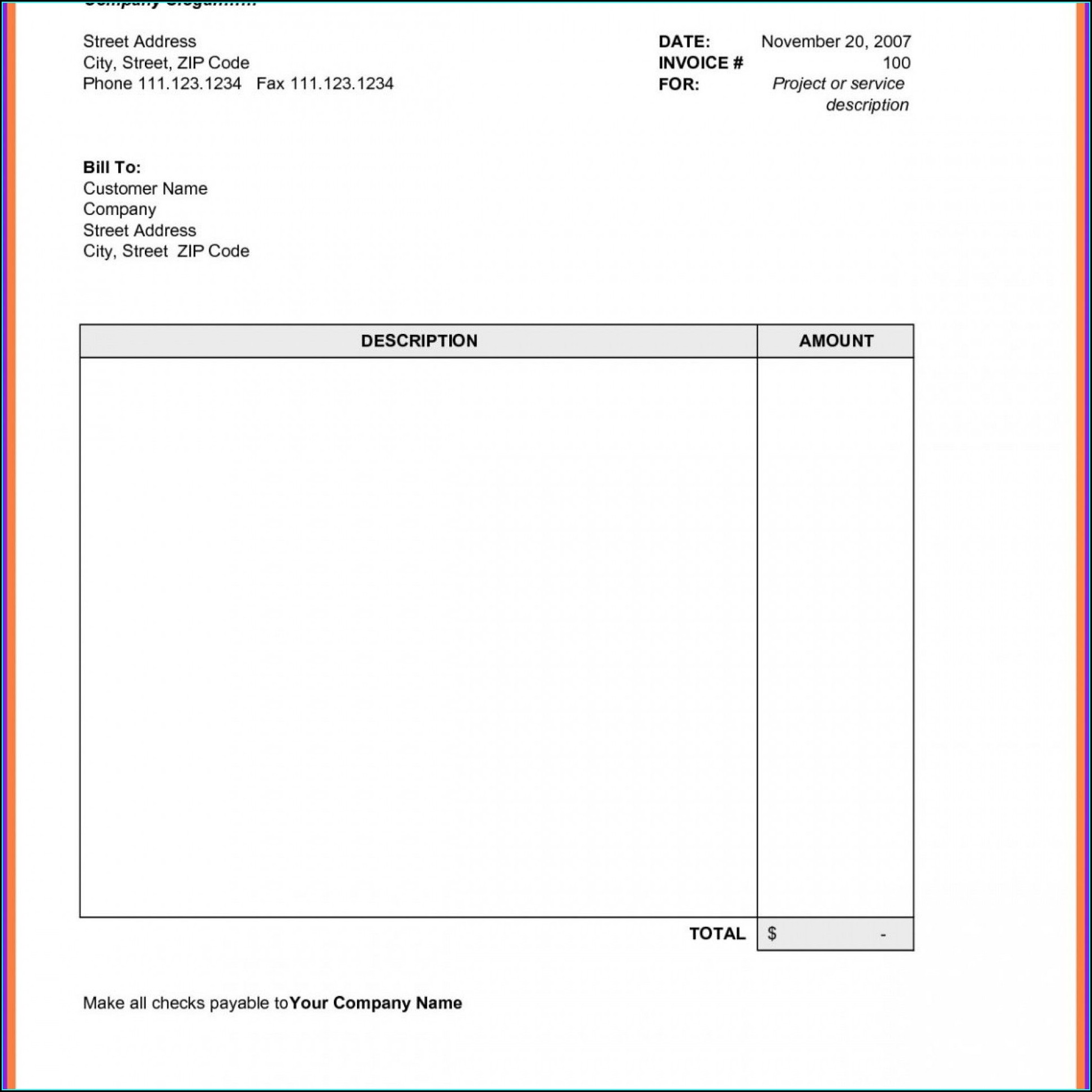 Ms Word Invoice Template Free Download