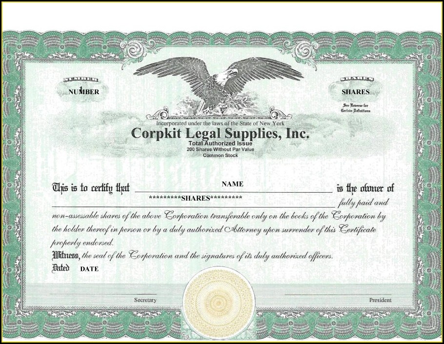 Ms Word Stock Certificate Template