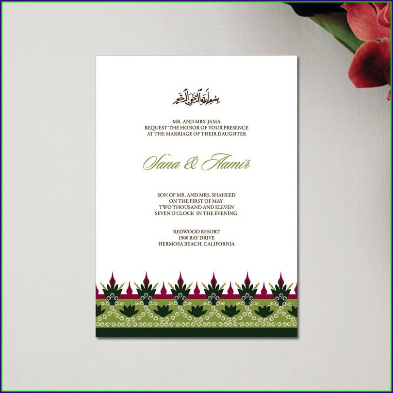 Muslim Wedding Invitation Card Design Template