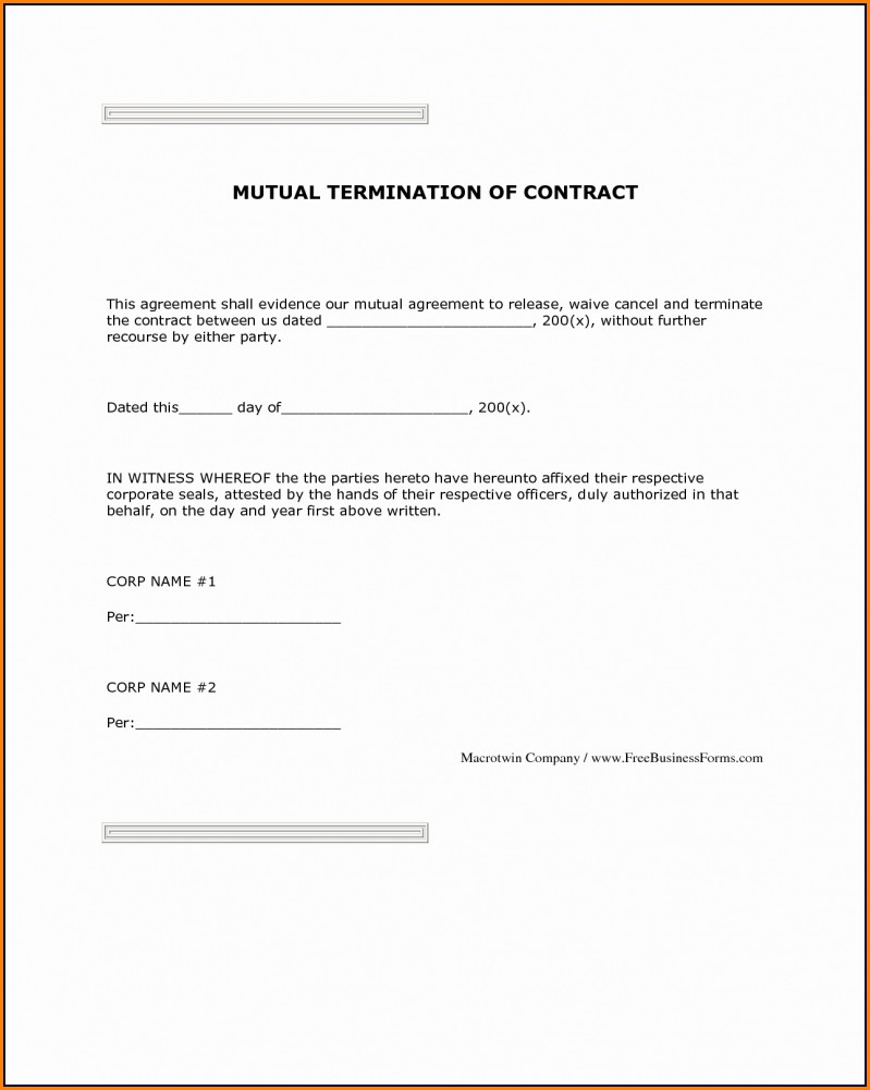 Mutual Termination Of Employment Letter Template
