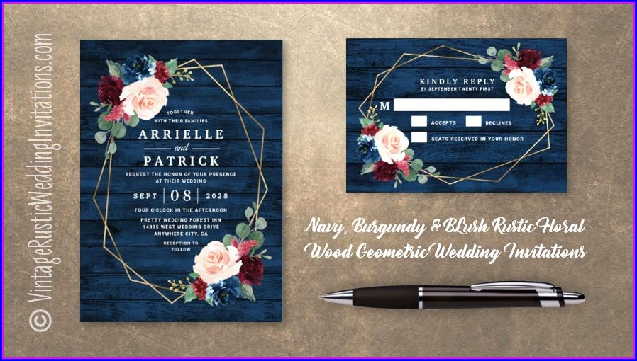 Navy And Burgundy Wedding Invitations