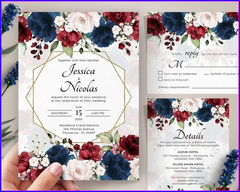 Navy Blue And Burgundy Wedding Invitations