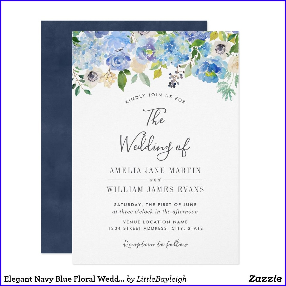 Navy Blue Floral Wedding Invitations