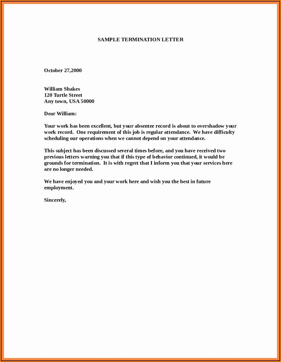 Notice Termination Of Employment Letter Template