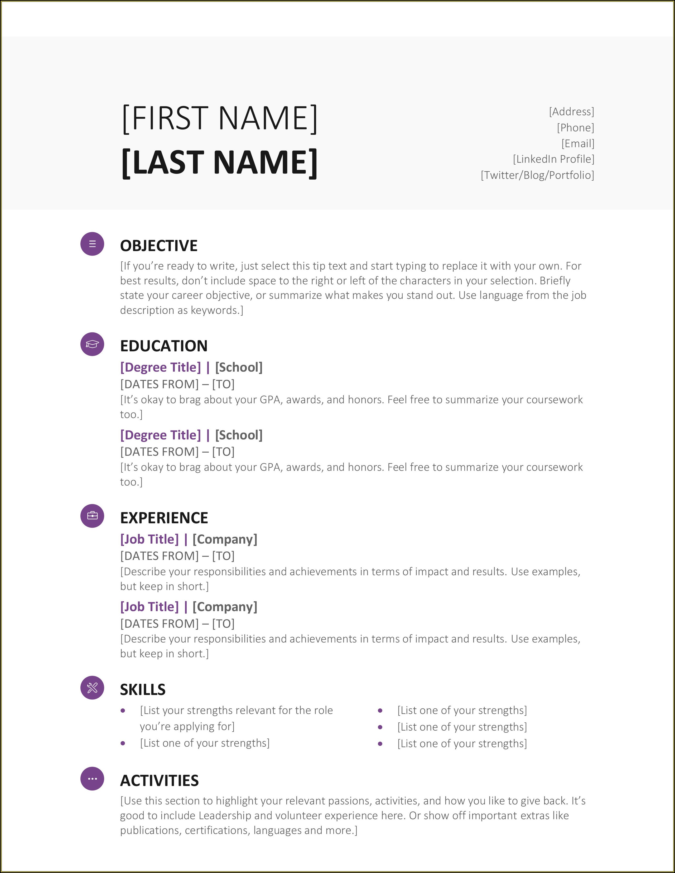 Online Word Templates For Resume