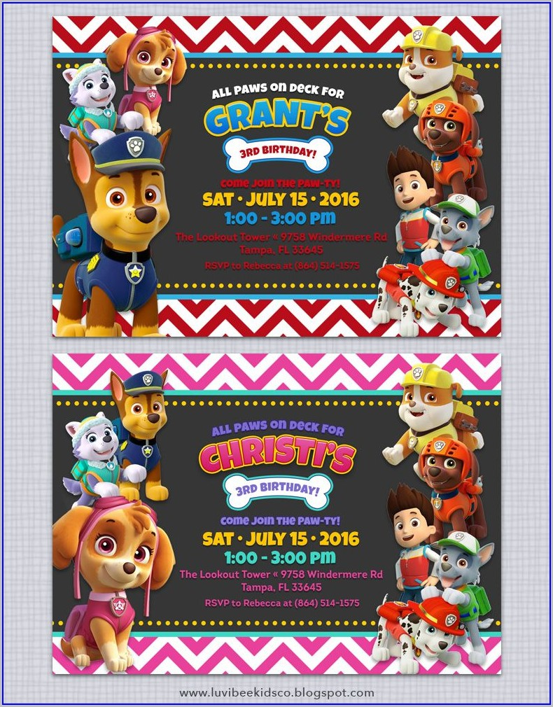 Paw Patrol Birthday Invitations Free