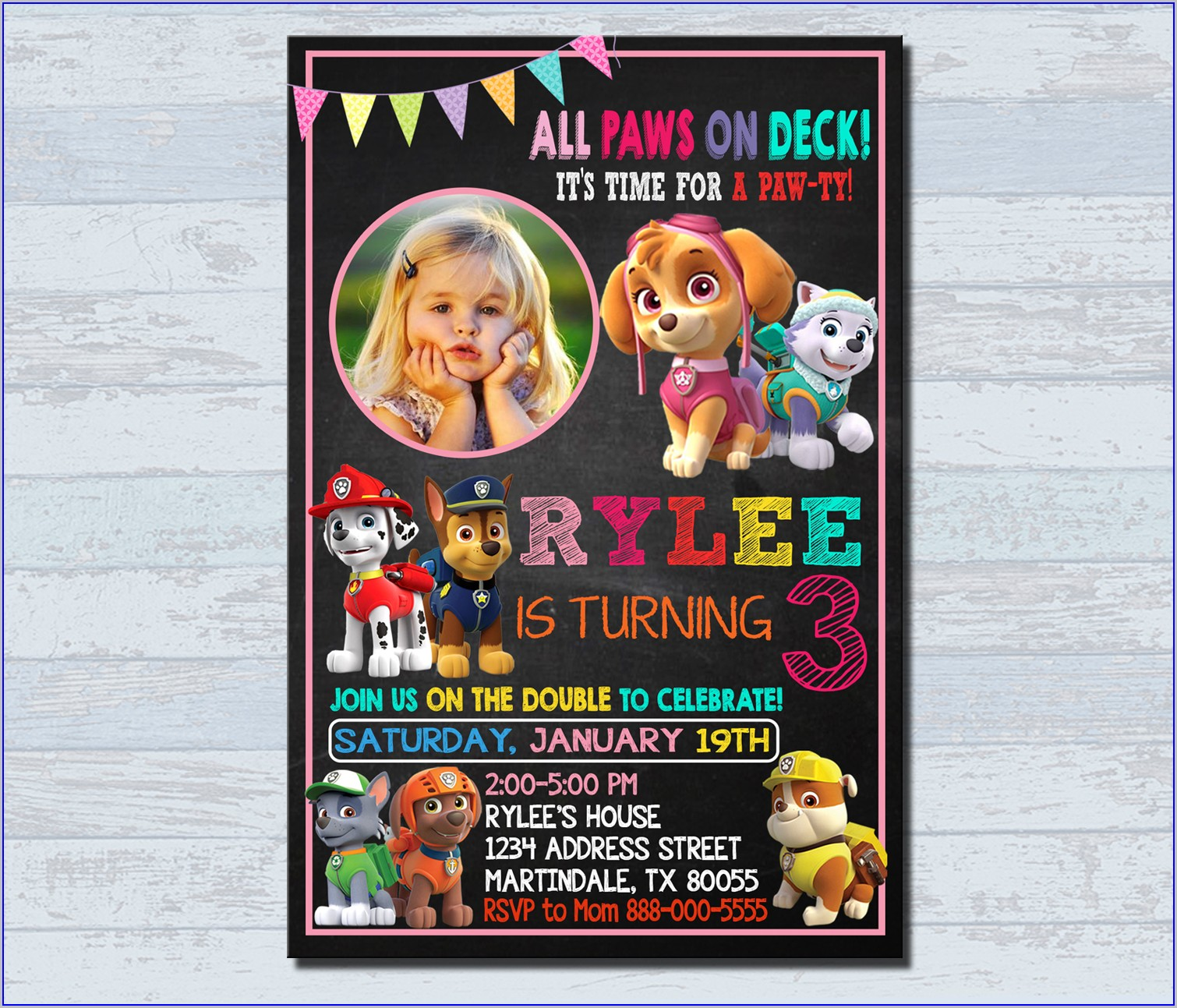 Paw Patrol Birthday Invitations With Photo