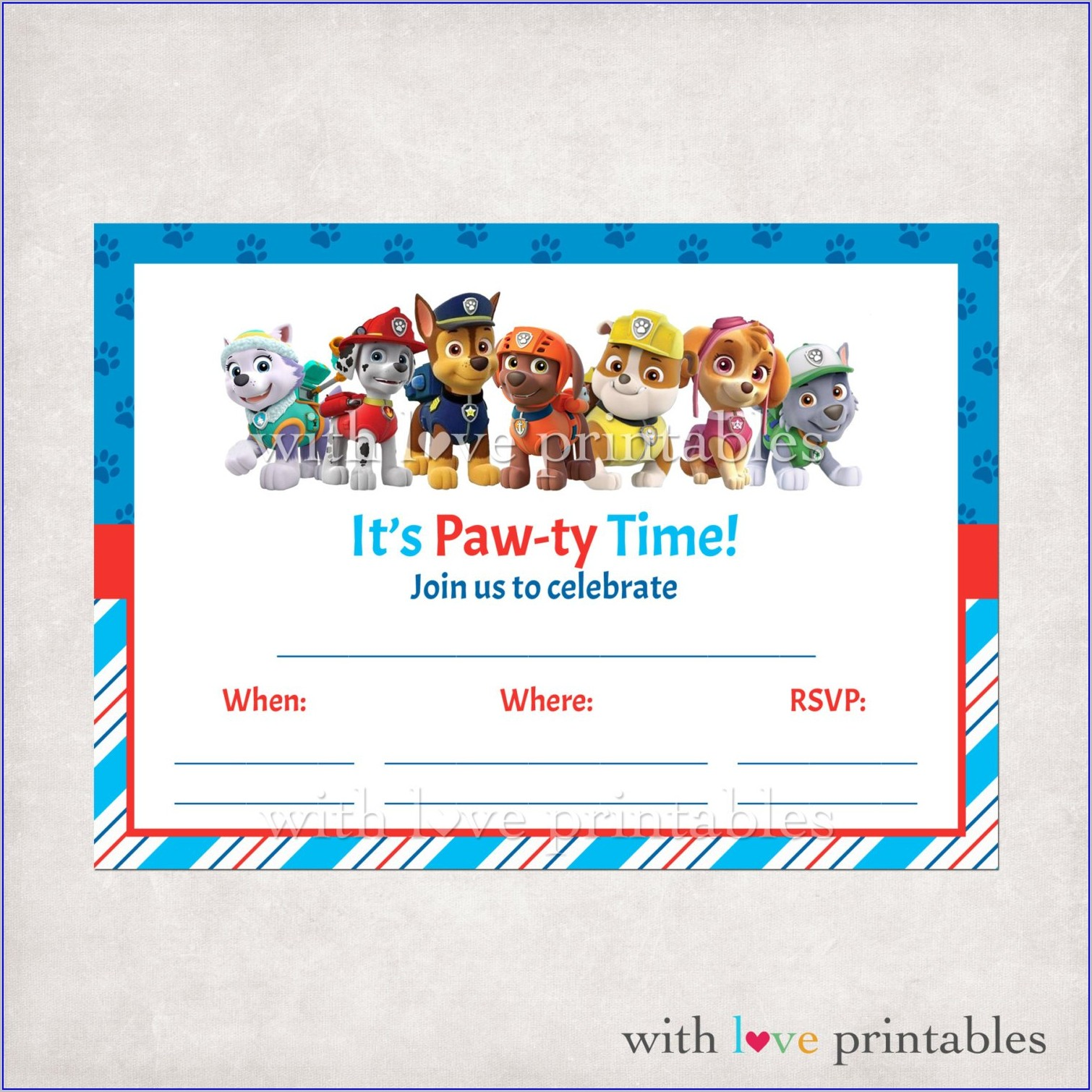 Paw Patrol Boy Birthday Invitations Free Printable