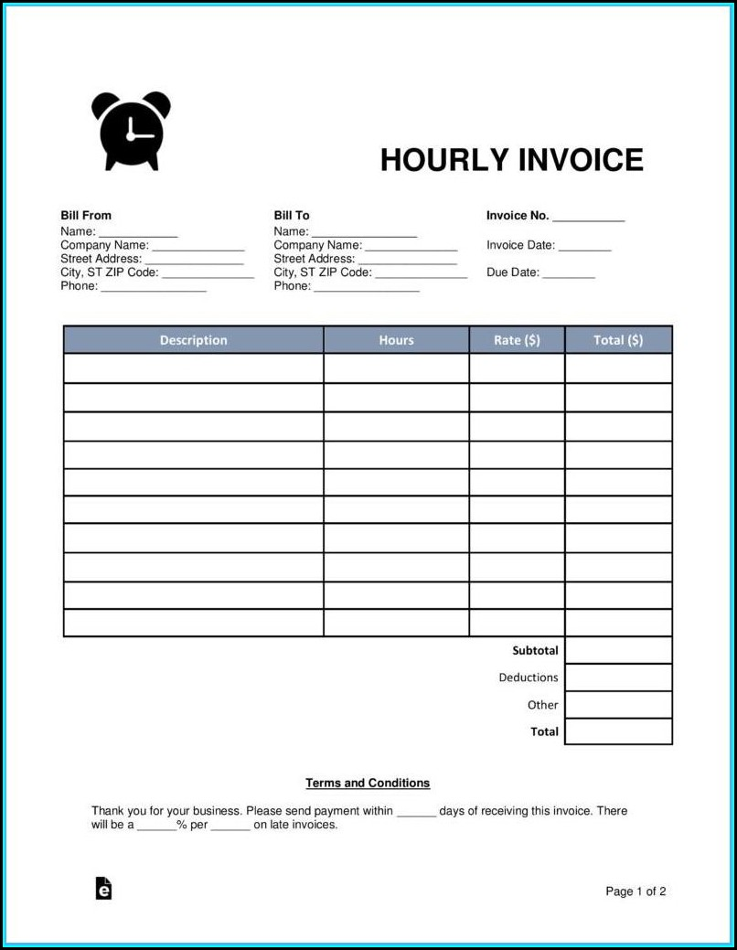 Pdf Blank Invoice Template Word Free Download