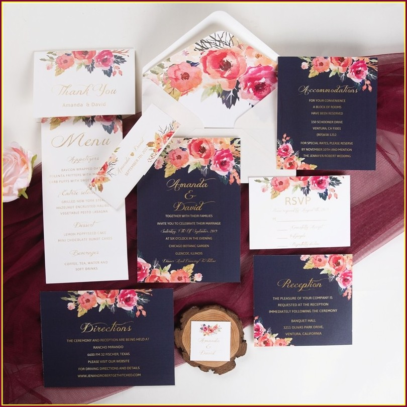 Peach And Navy Blue Wedding Invitations