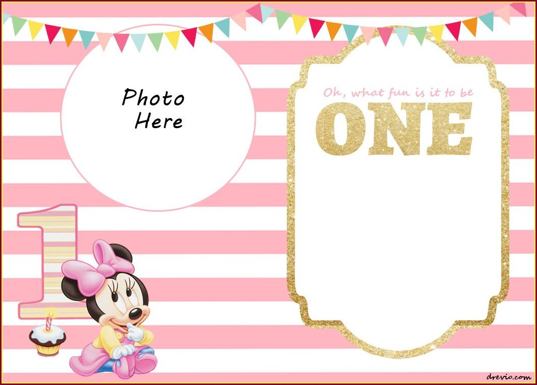 Personalized Editable Minnie Mouse Invitation Template