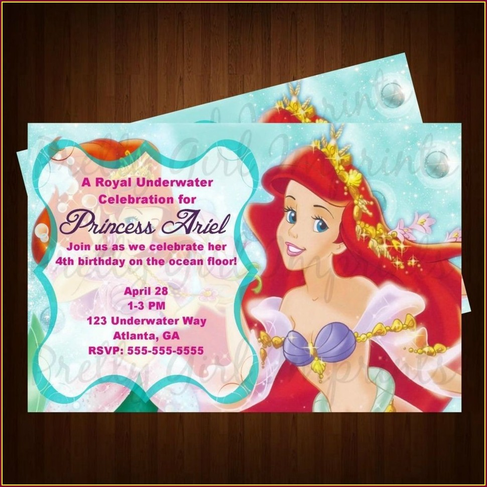 Personalized Little Mermaid Birthday Invitations