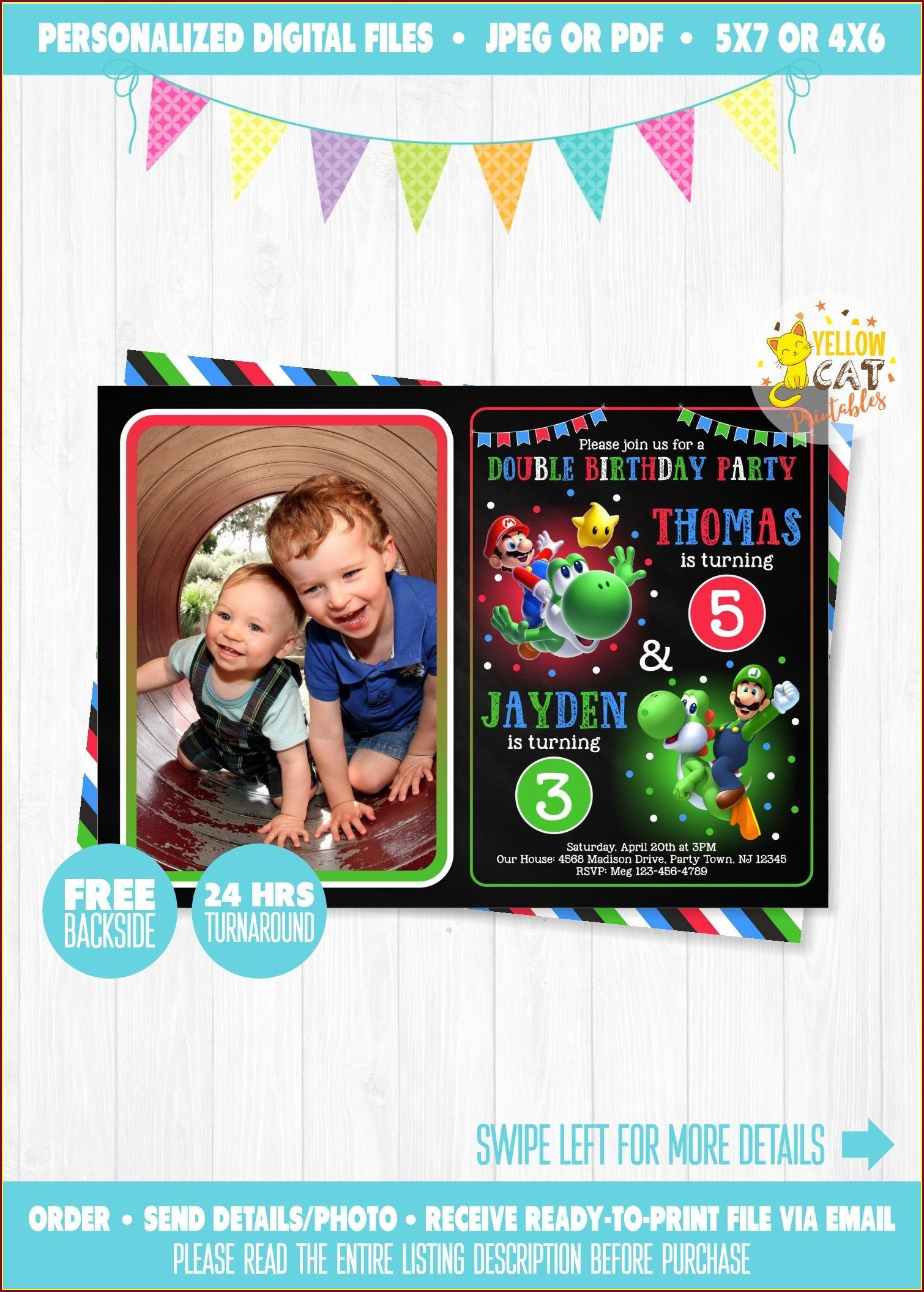 Personalized Super Mario Birthday Invitations Free