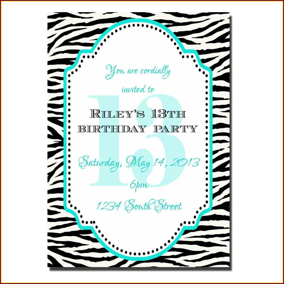 Printable 13th Birthday Invitations