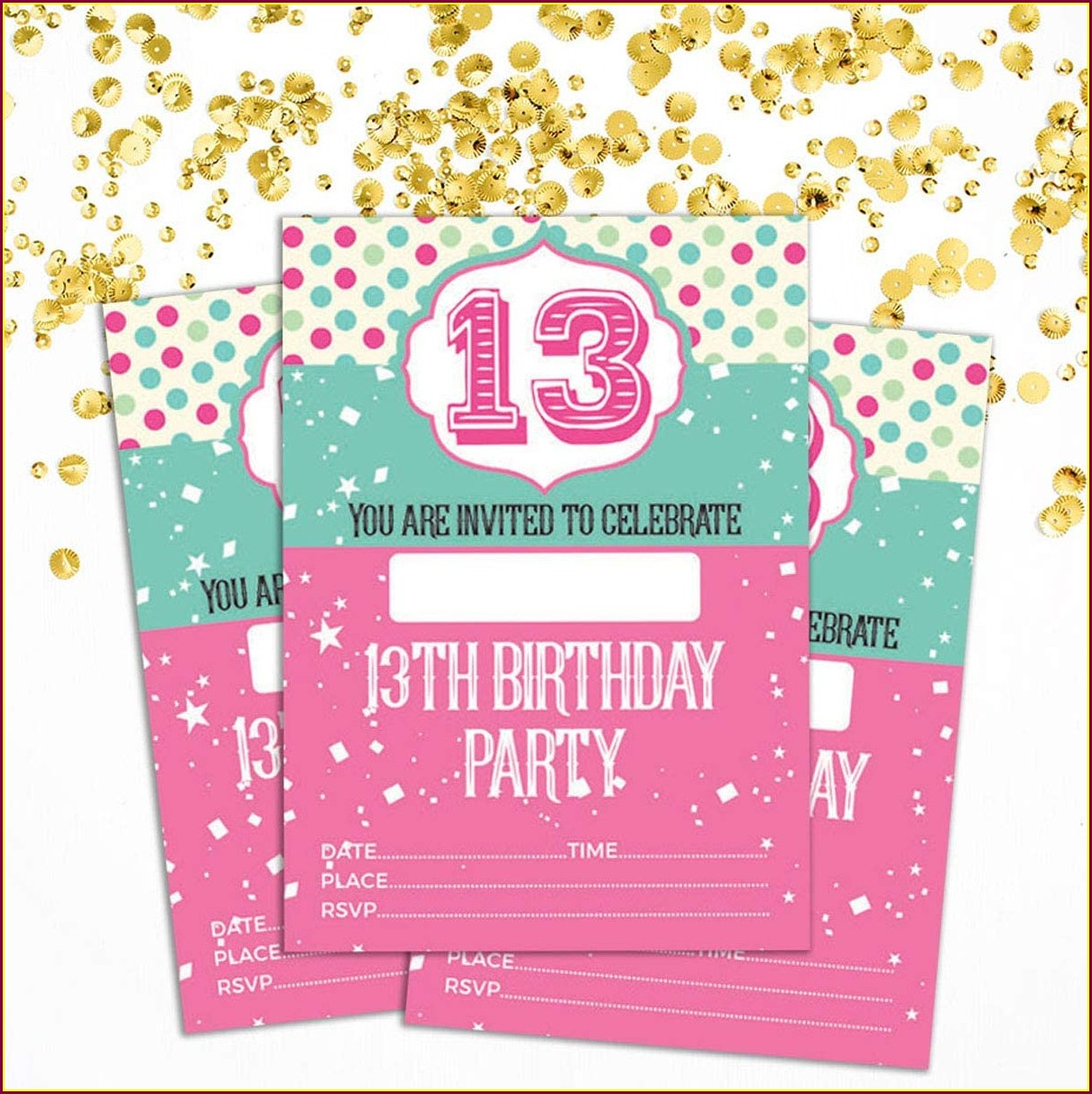 Printable Blank 13th Birthday Invitations