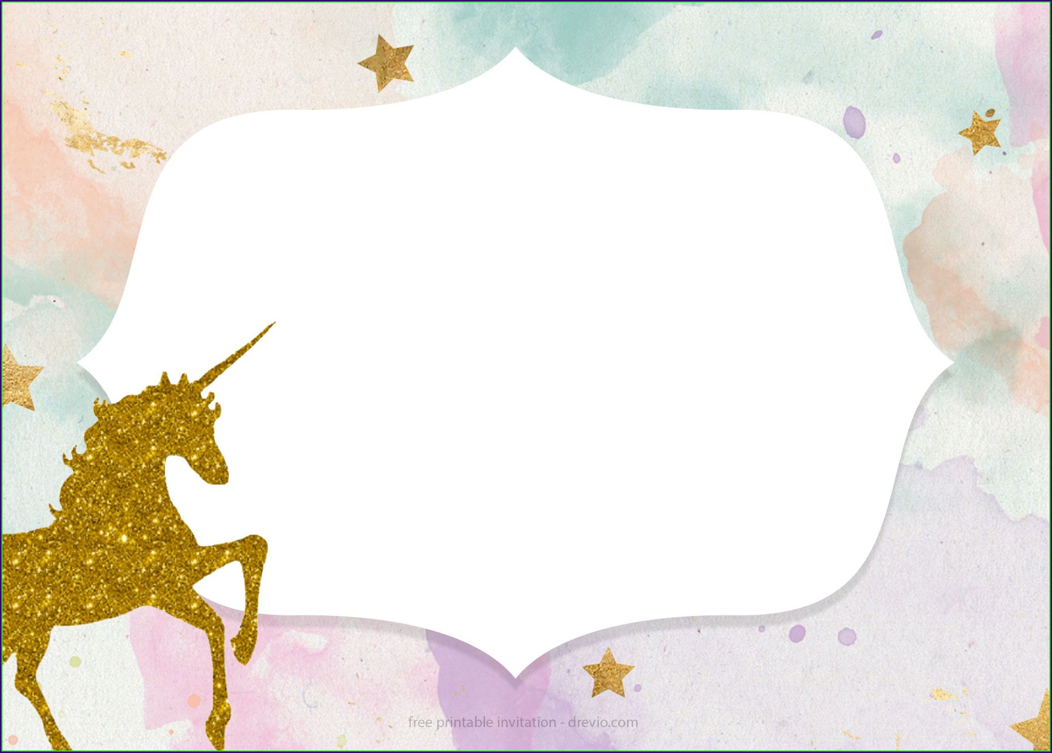 Printable Blank Unicorn Invitation Template Free Download