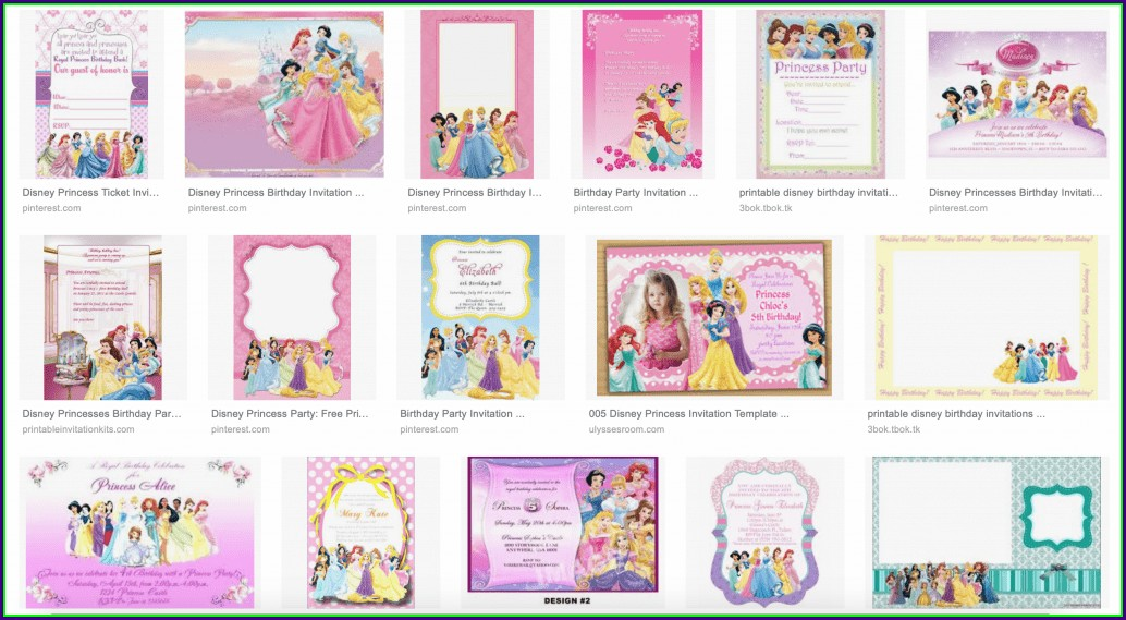 Printable Disney Princess Birthday Invitations