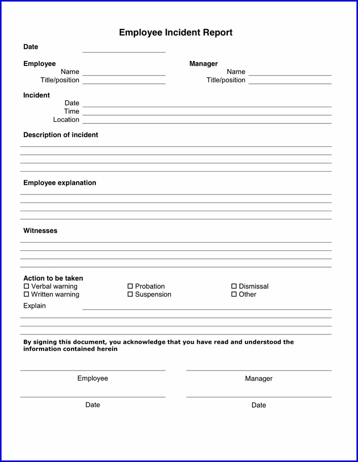 Printable Employee Incident Report Template