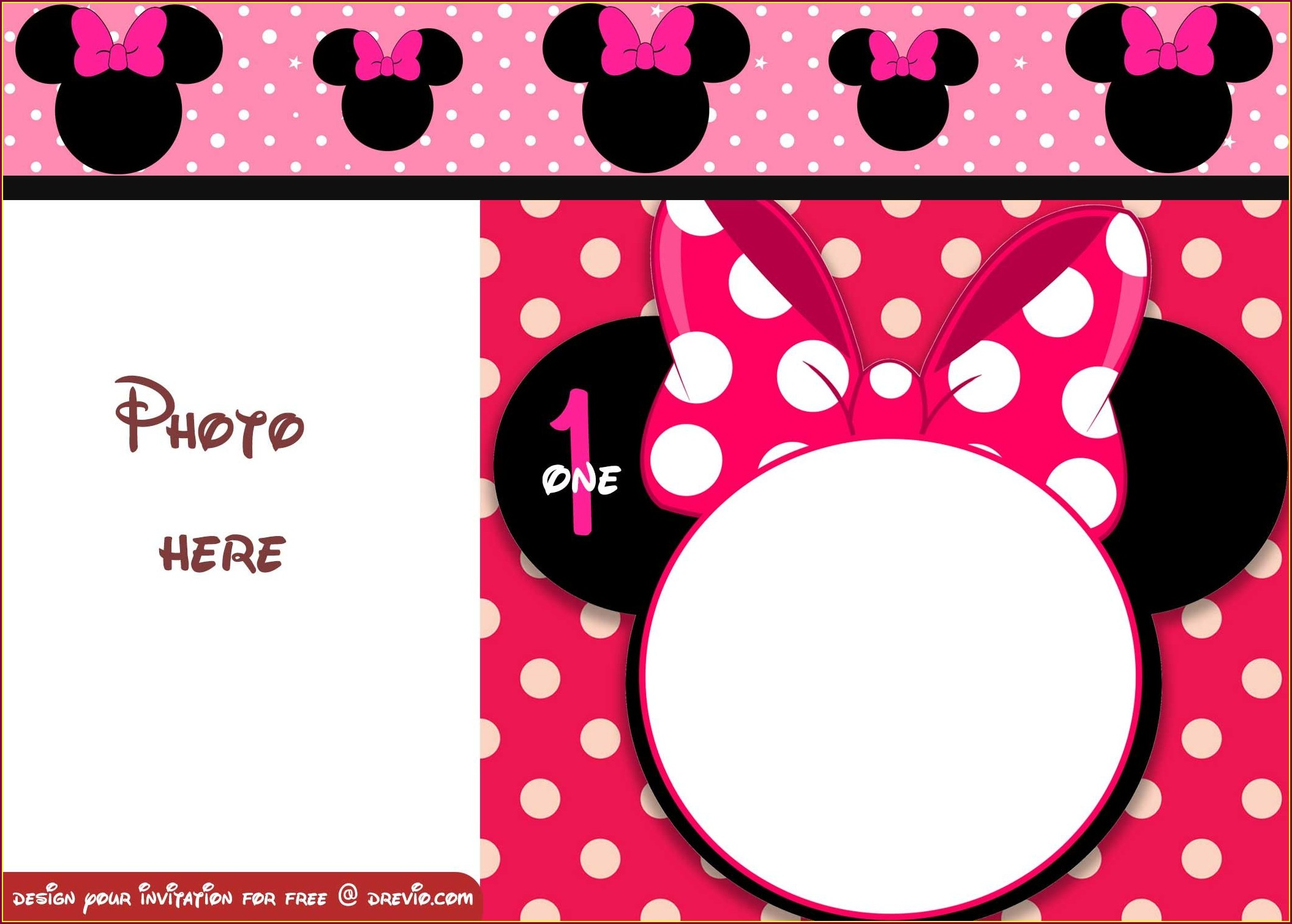 Printable Minnie Editable Minnie Mouse Invitation Template Free