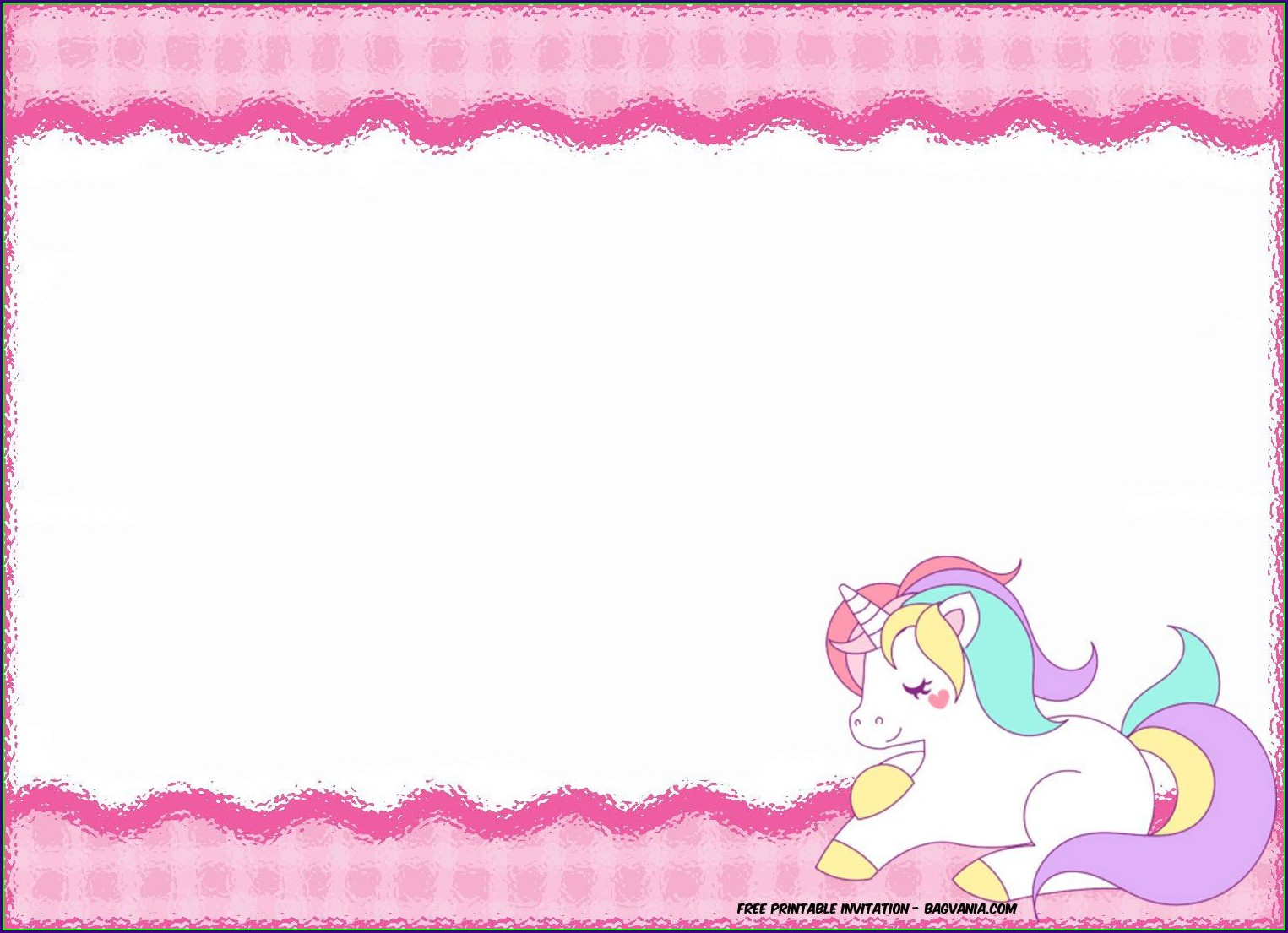 Printable Unicorn Invitation Template Free Download