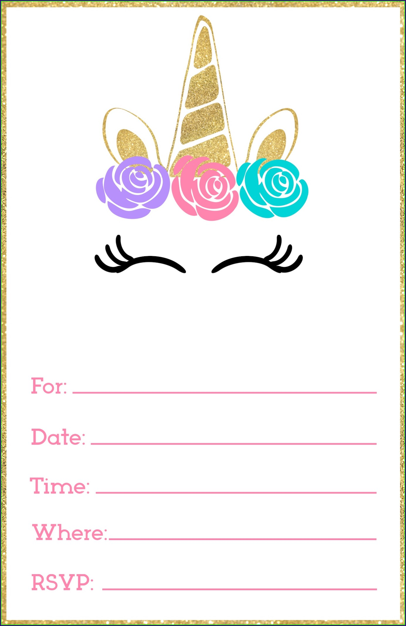 Printable Unicorn Invitation Template Free