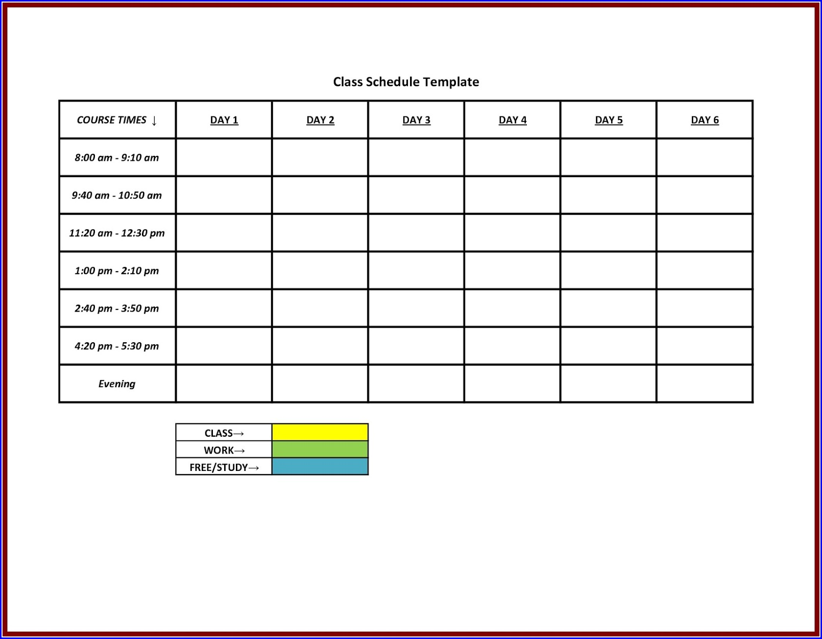 Printable Weekly Free Weekly Work Schedule Template