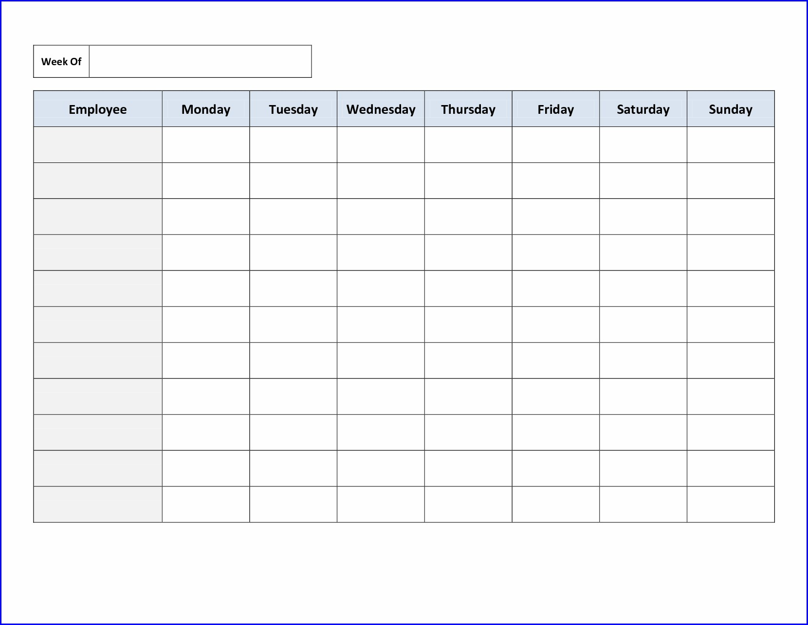 Printable Weekly Work Schedule Template