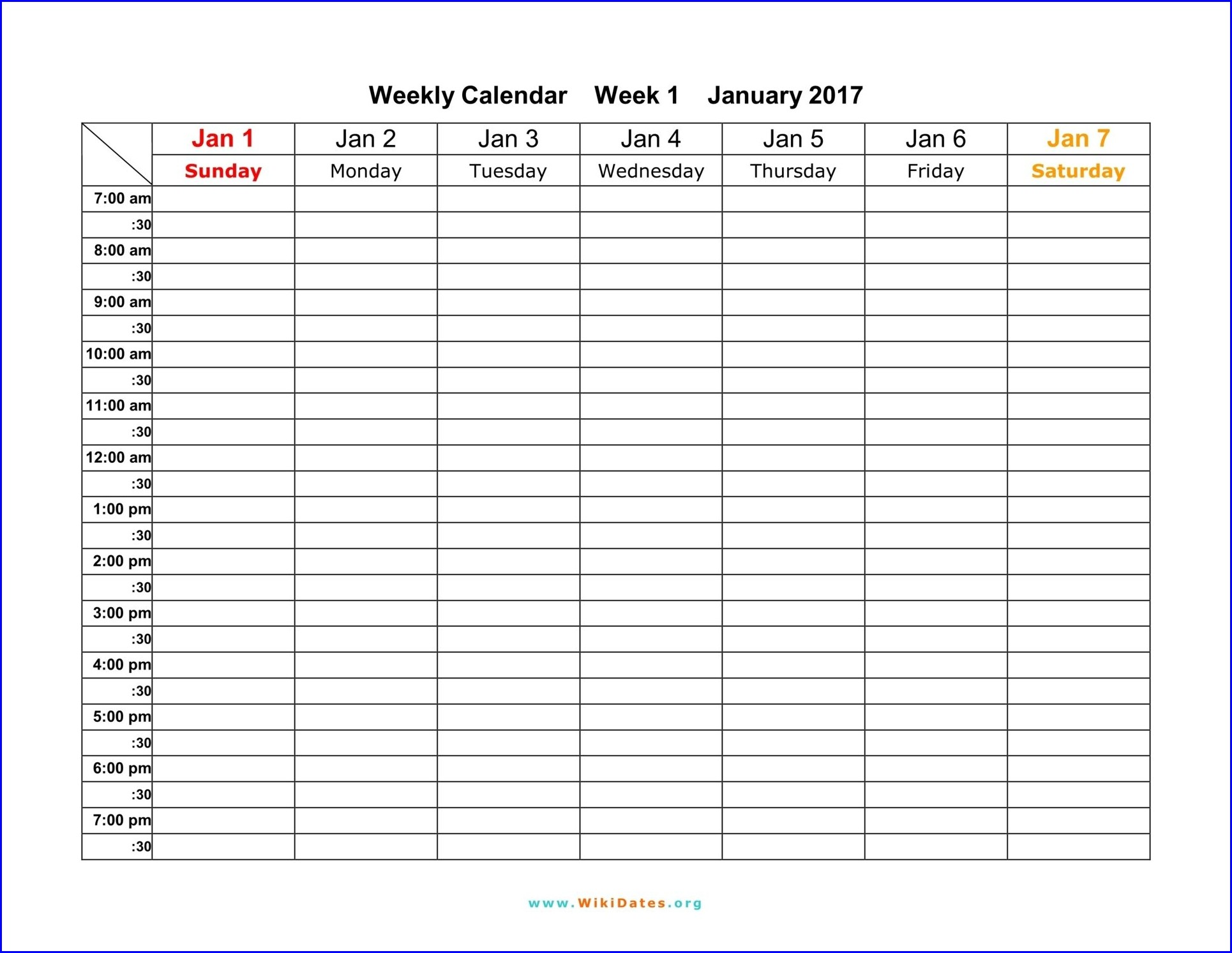 Printable Work Week Calendar Template