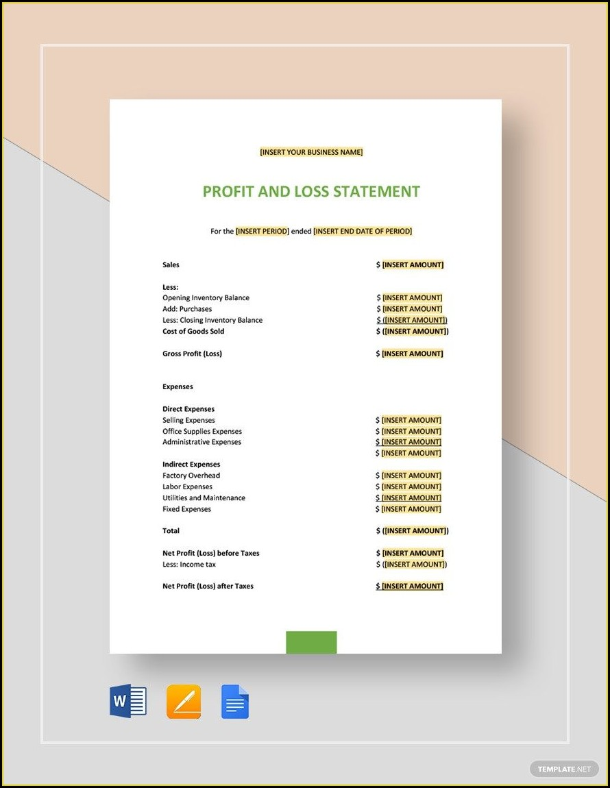 Profit And Loss Statement Template Word Doc