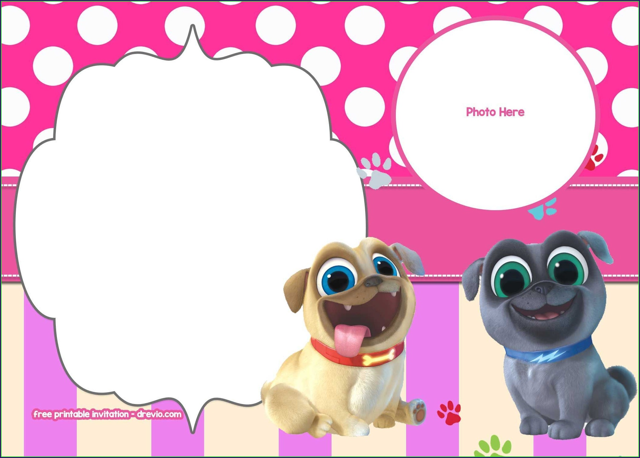 Puppy Dog Pals Invitations Blank