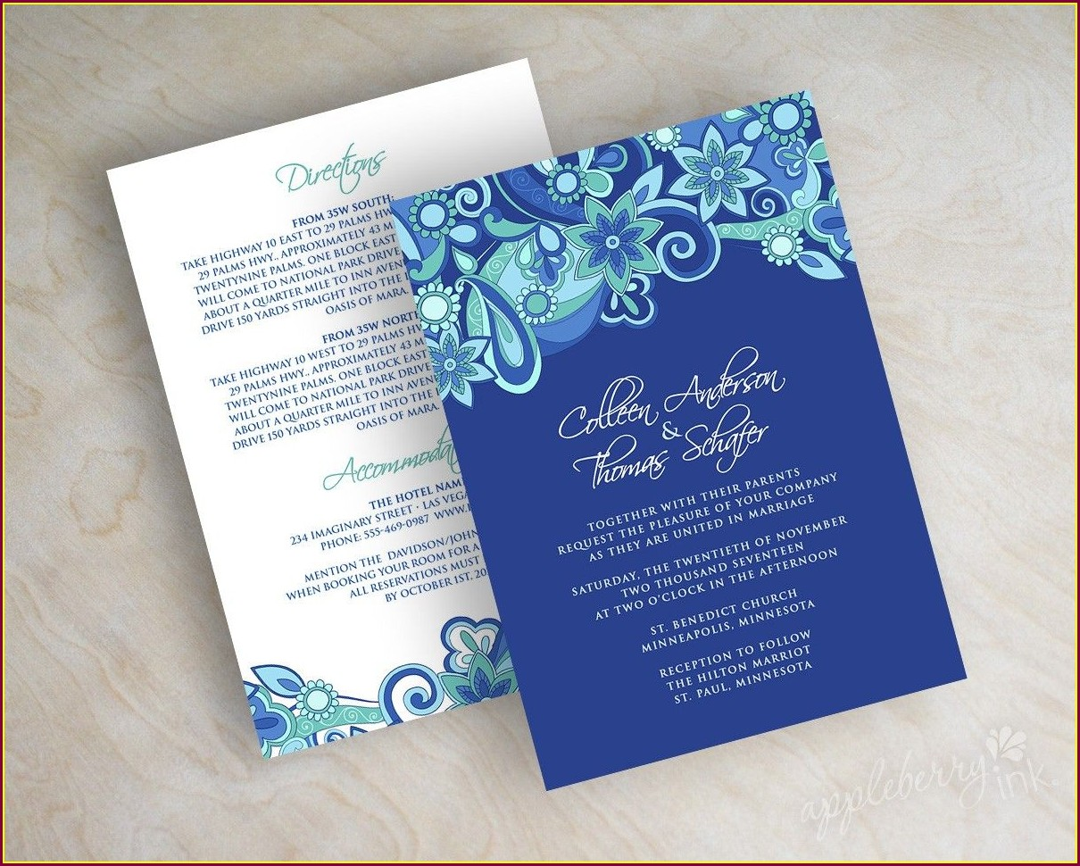 Purple And Royal Blue Wedding Invitations