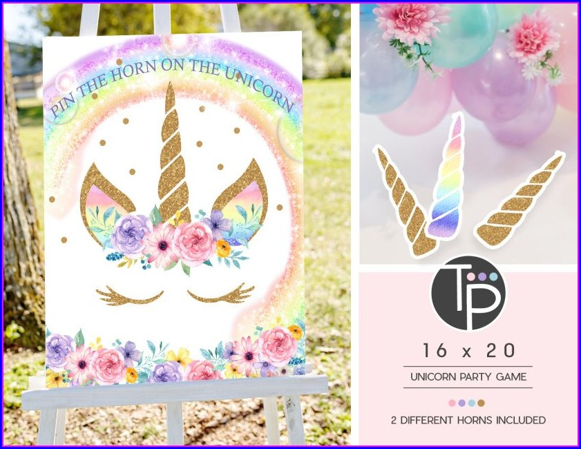 Rainbow Editable Unicorn Birthday Invitations Templates Free