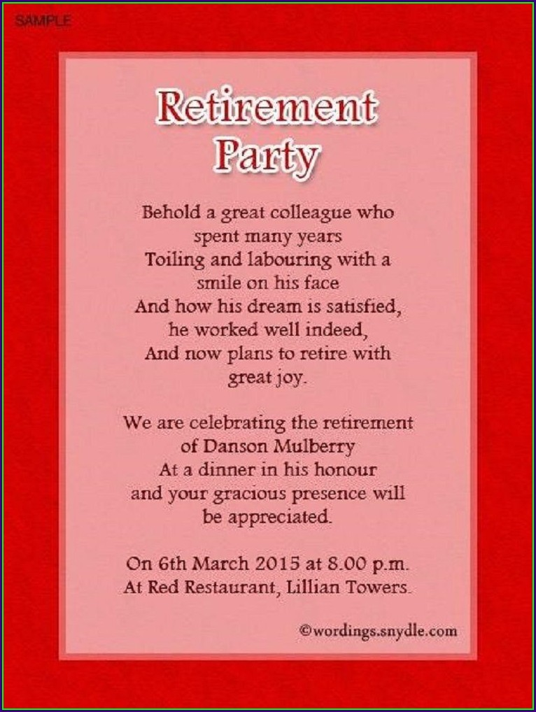 Retirement Invitation Wording For Coworker