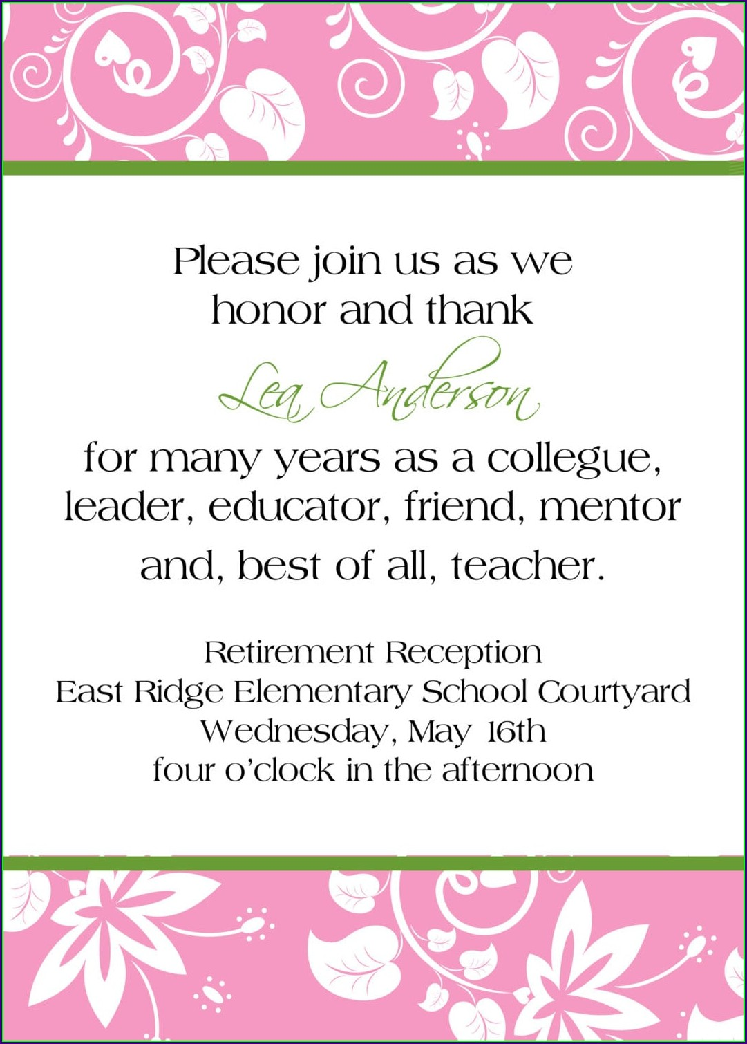 Retirement Invitation Wording For Teachers