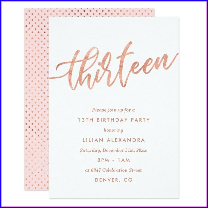 Rose Gold 13th Birthday Invitations