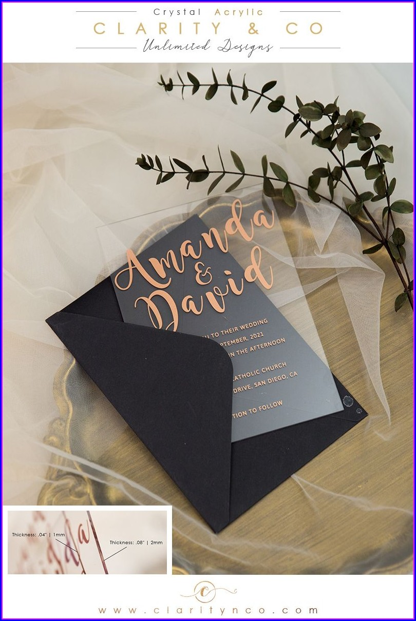 Rose Gold Acrylic Wedding Invitations