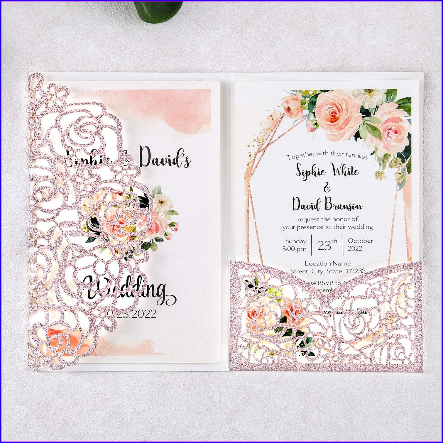Rose Gold Invitations Blank