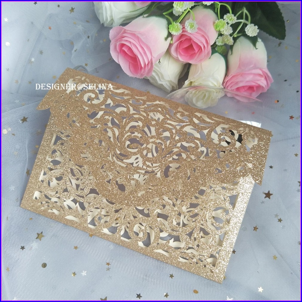 Rose Gold Invitations For Quinceanera