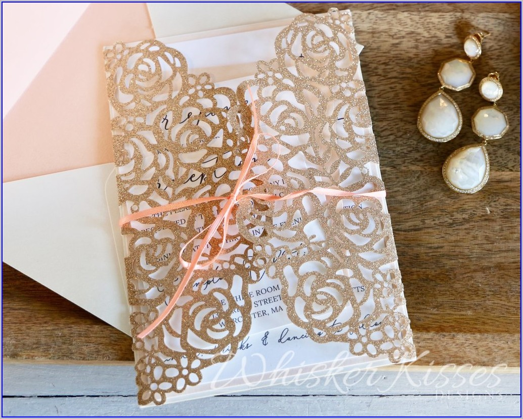 Rose Gold Wedding Invitations And Rsvp
