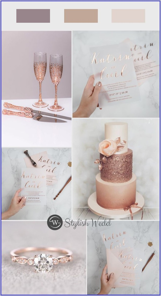 Rose Gold Wedding Invitations Glass