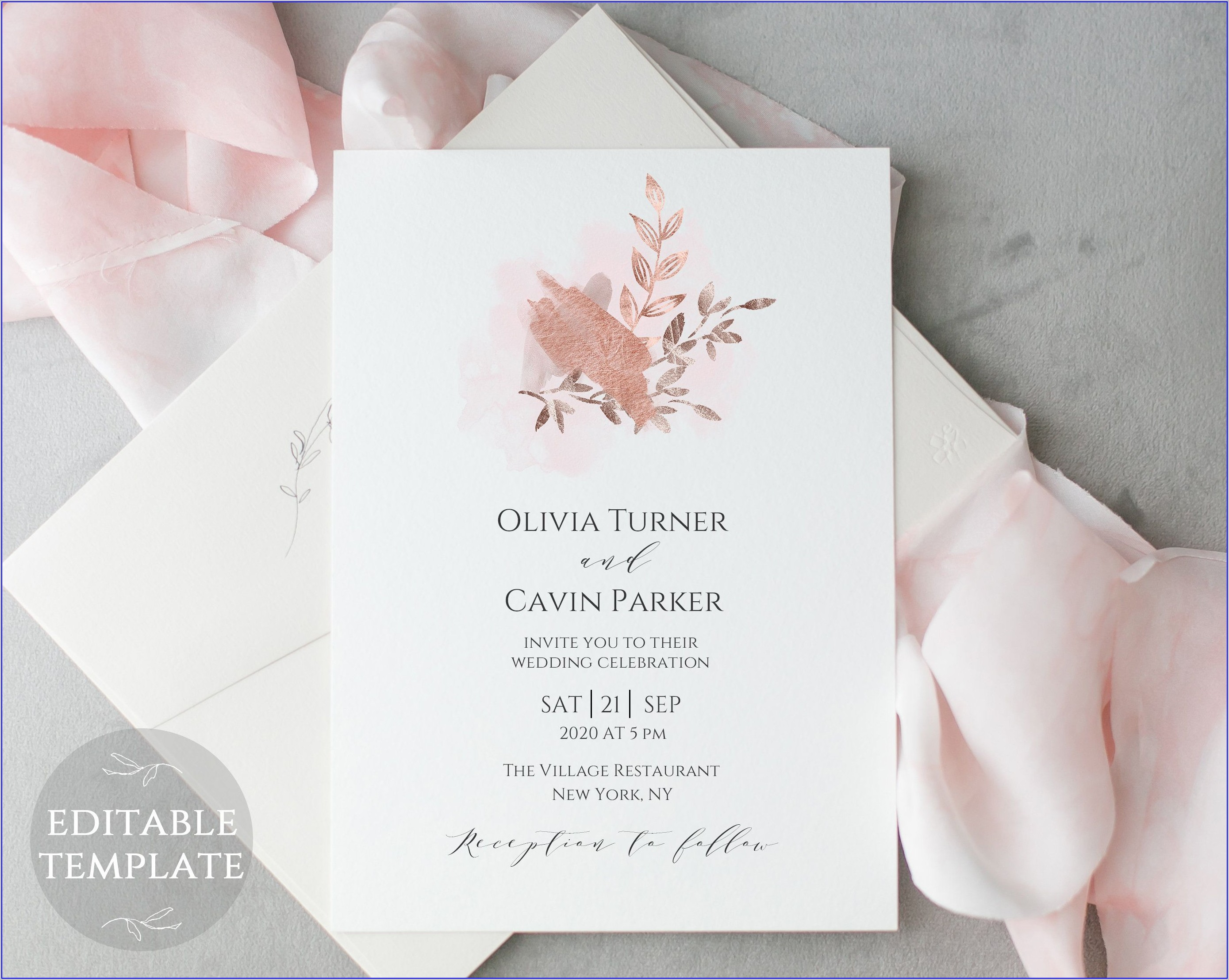 Rose Gold Wedding Invitations Template